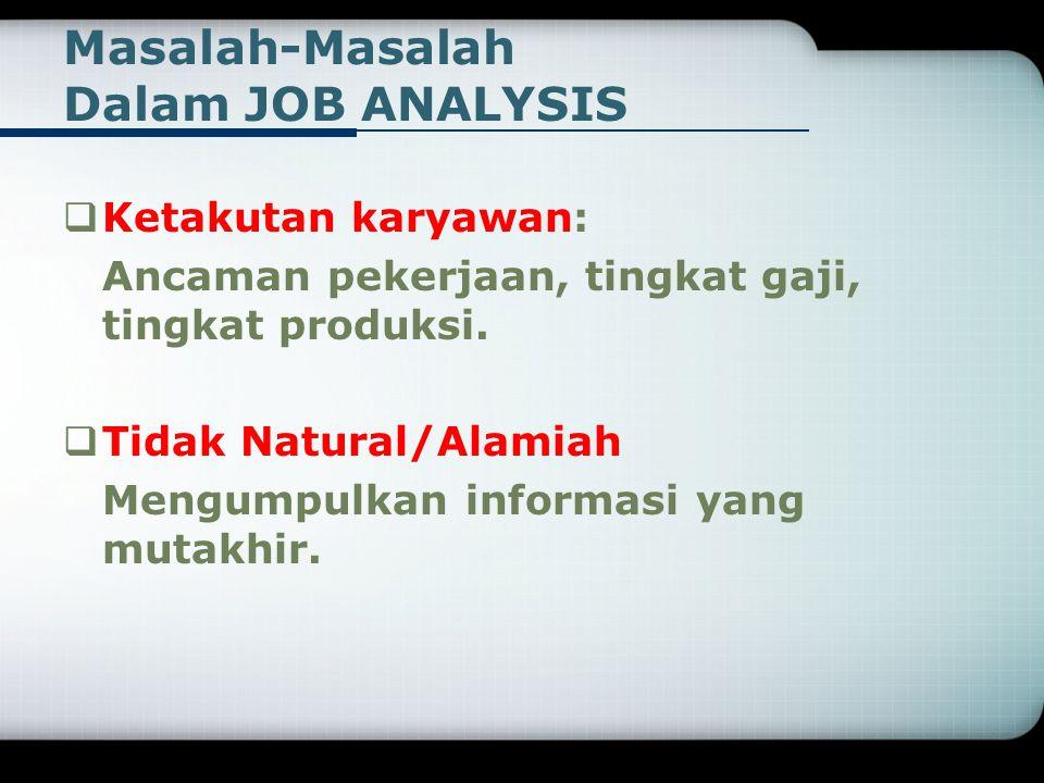 Masalah-Masalah Dalam JOB ANALYSIS