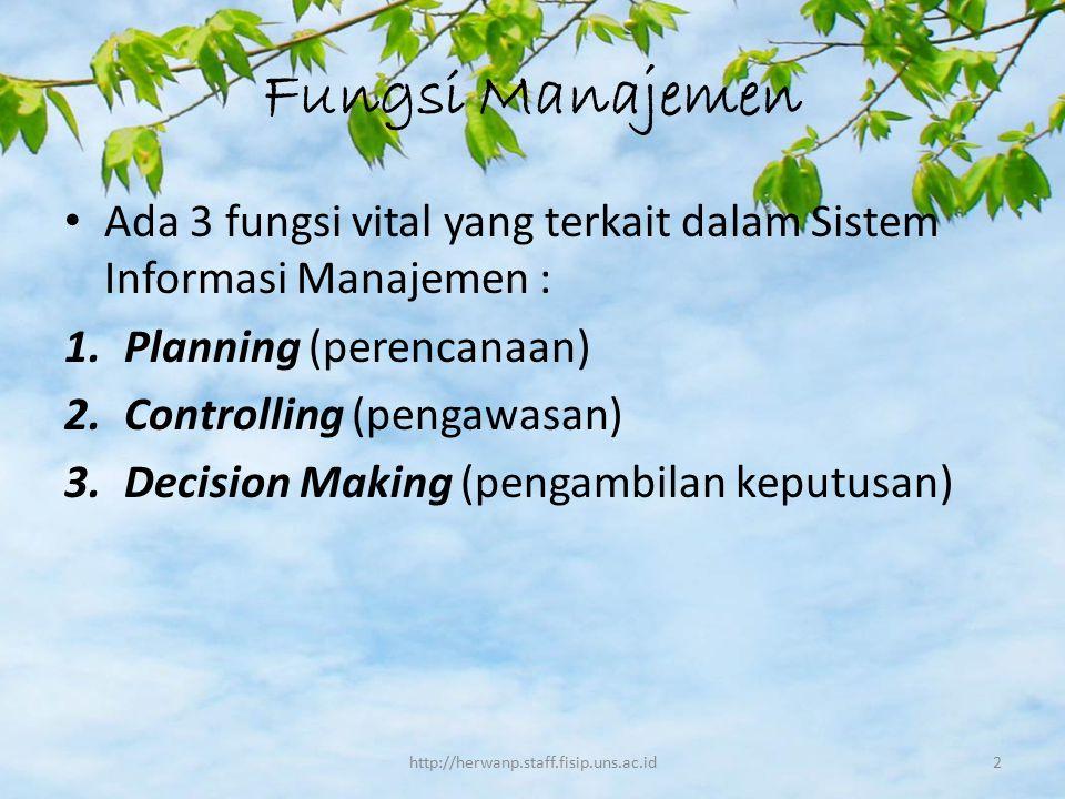Fungsi Manajemen Ada 3 fungsi vital yang terkait dalam Sistem Informasi Manajemen : Planning (perencanaan)