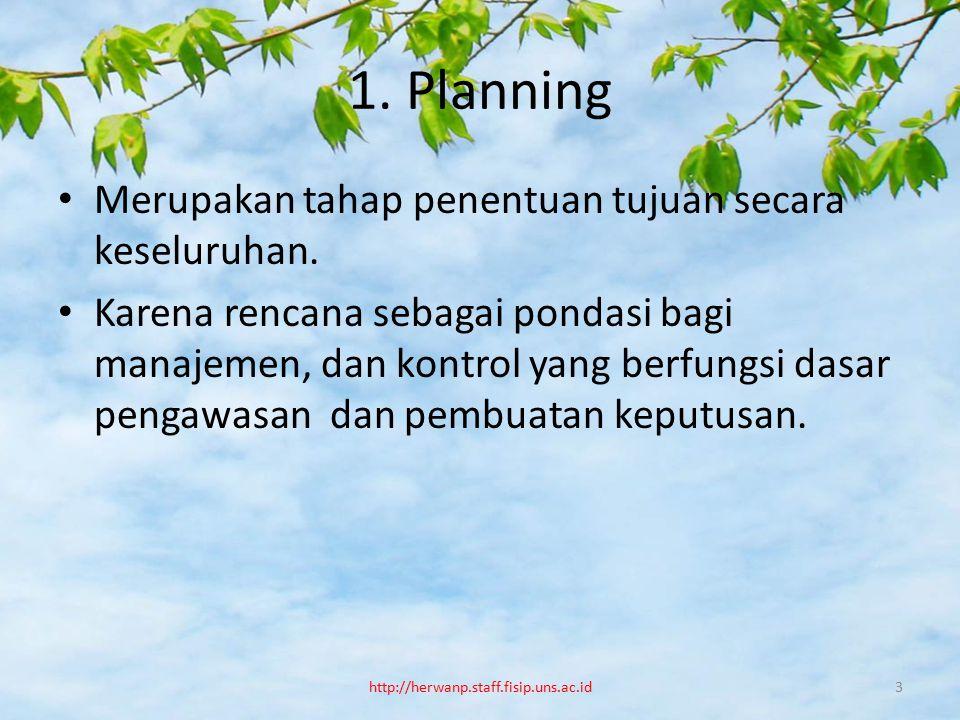 1. Planning Merupakan tahap penentuan tujuan secara keseluruhan.