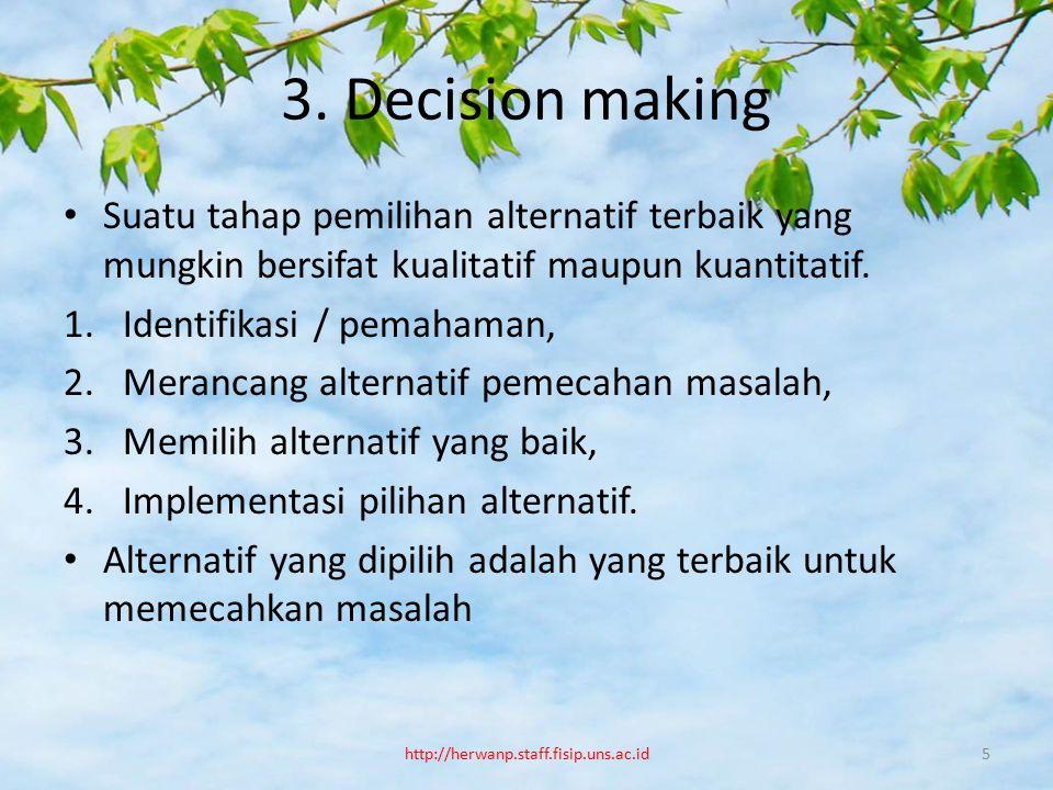 3. Decision making Suatu tahap pemilihan alternatif terbaik yang mungkin bersifat kualitatif maupun kuantitatif.
