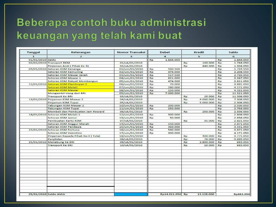 Beberapa contoh buku administrasi keuangan yang telah kami buat