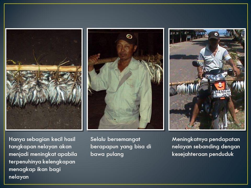Hanya sebagian kecil hasil tangkapan nelayan akan menjadi meningkat apabila terpenuhinya kelengkapan menagkap ikan bagi nelayan