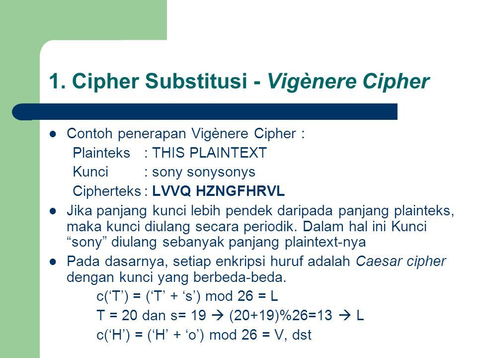 1. Cipher Substitusi - Vigènere Cipher
