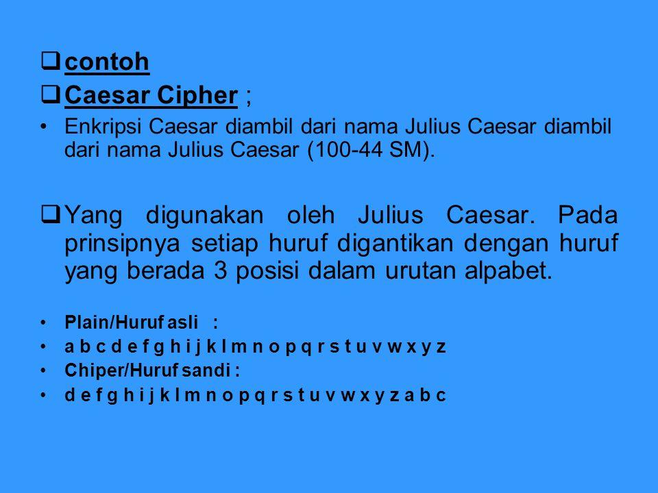 contoh Caesar Cipher ; Enkripsi Caesar diambil dari nama Julius Caesar diambil dari nama Julius Caesar (100-44 SM).