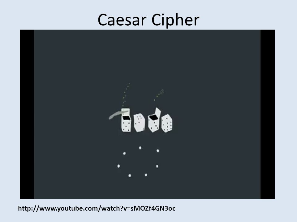 Caesar Cipher http://www.youtube.com/watch v=sMOZf4GN3oc