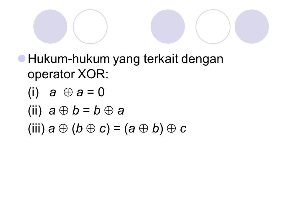 Hukum-hukum yang terkait dengan operator XOR: