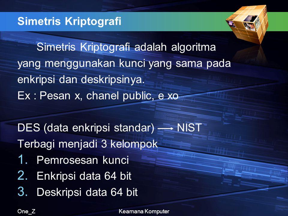 Simetris Kriptografi adalah algoritma