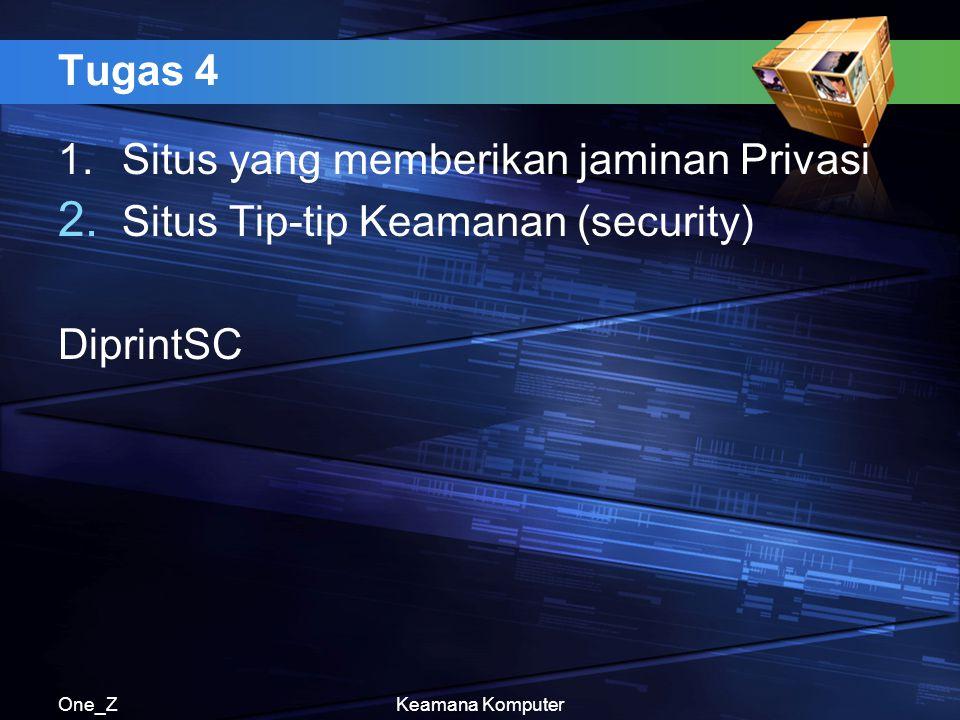 1. Situs yang memberikan jaminan Privasi