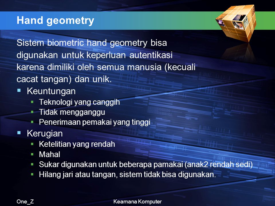 Hand geometry Sistem biometric hand geometry bisa