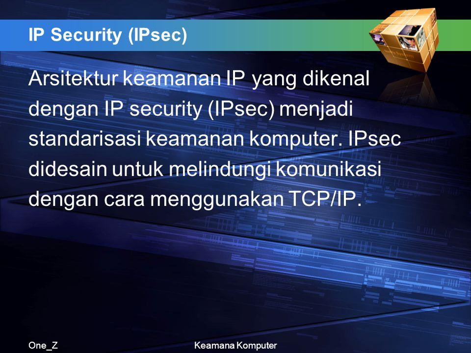 Arsitektur keamanan IP yang dikenal dengan IP security (IPsec) menjadi