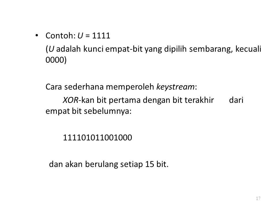 Contoh: U = 1111 (U adalah kunci empat-bit yang dipilih sembarang, kecuali 0000) Cara sederhana memperoleh keystream: