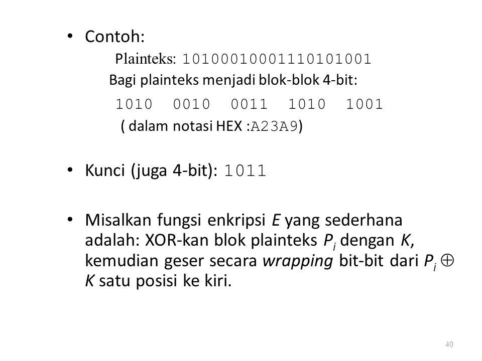 Contoh: 1010 0010 0011 1010 1001 Kunci (juga 4-bit): 1011