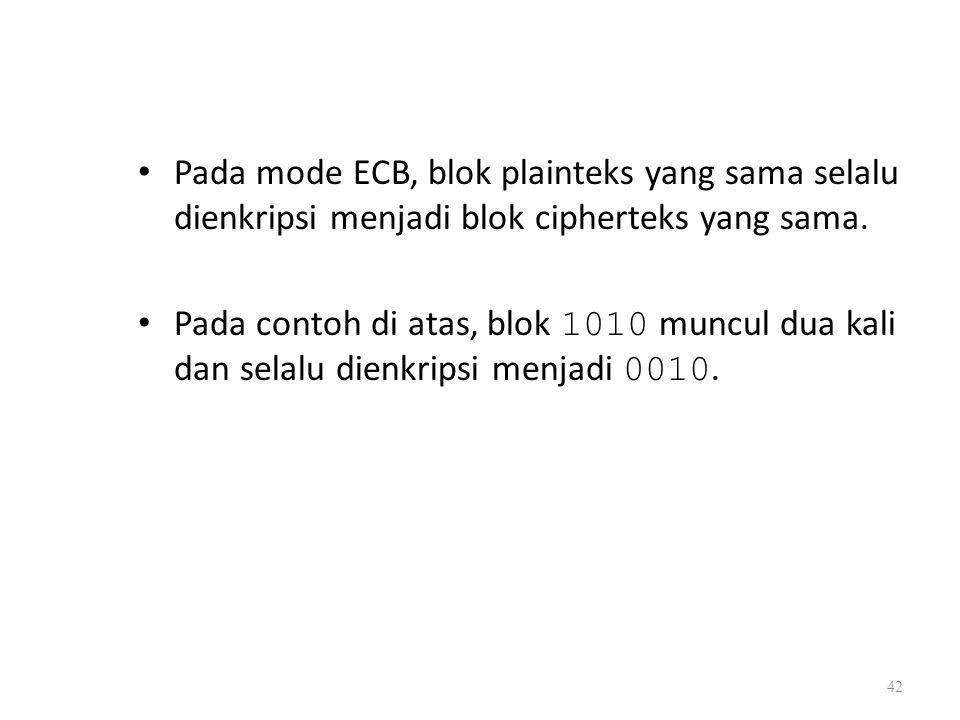 Pada mode ECB, blok plainteks yang sama selalu dienkripsi menjadi blok cipherteks yang sama.