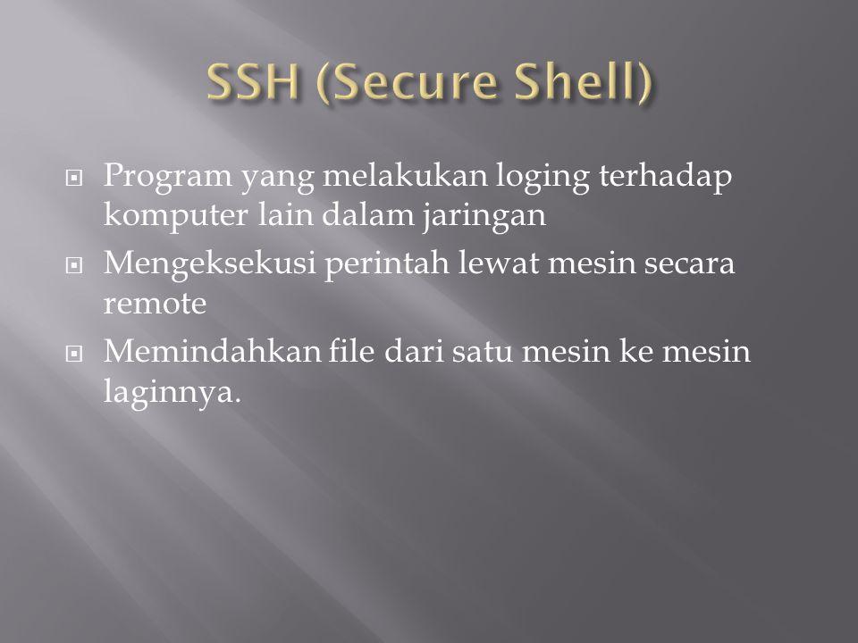 SSH (Secure Shell) Program yang melakukan loging terhadap komputer lain dalam jaringan. Mengeksekusi perintah lewat mesin secara remote.
