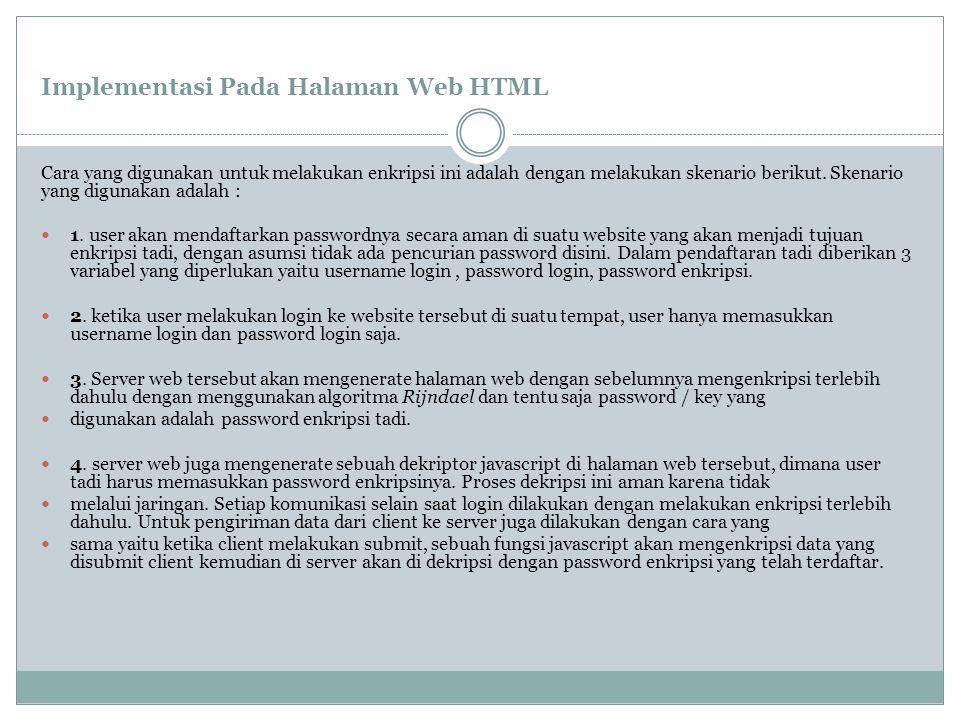 Implementasi Pada Halaman Web HTML