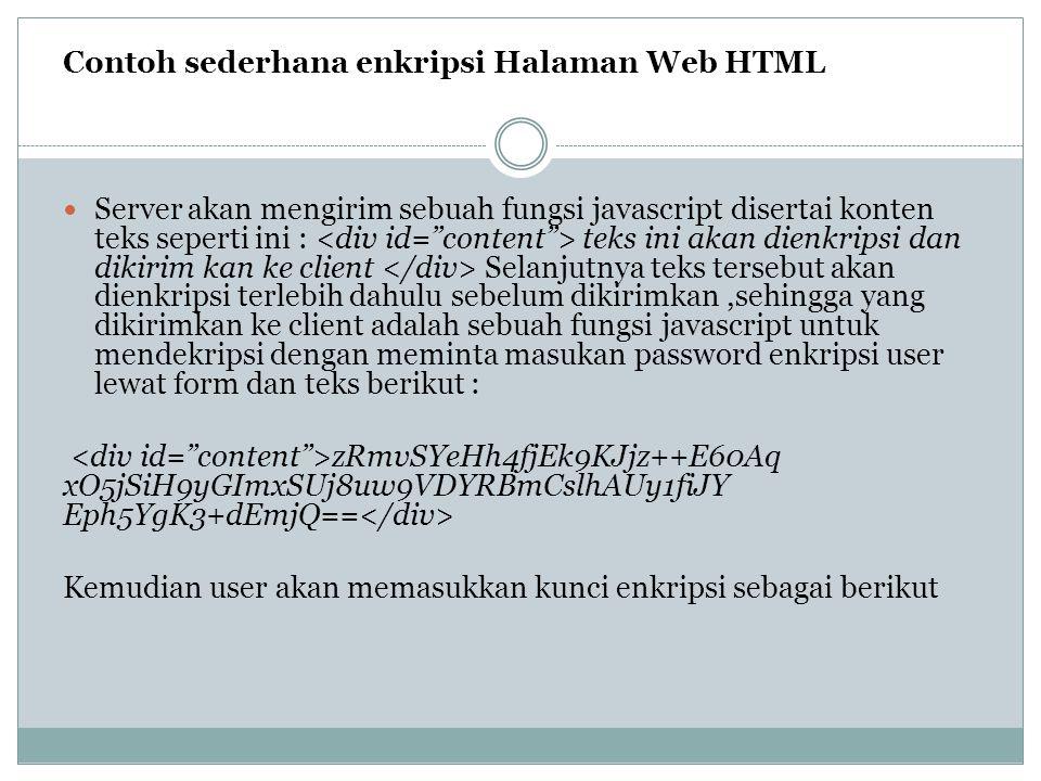 Contoh sederhana enkripsi Halaman Web HTML
