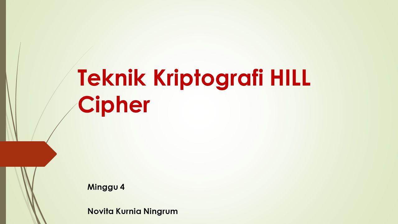 Teknik Kriptografi HILL Cipher