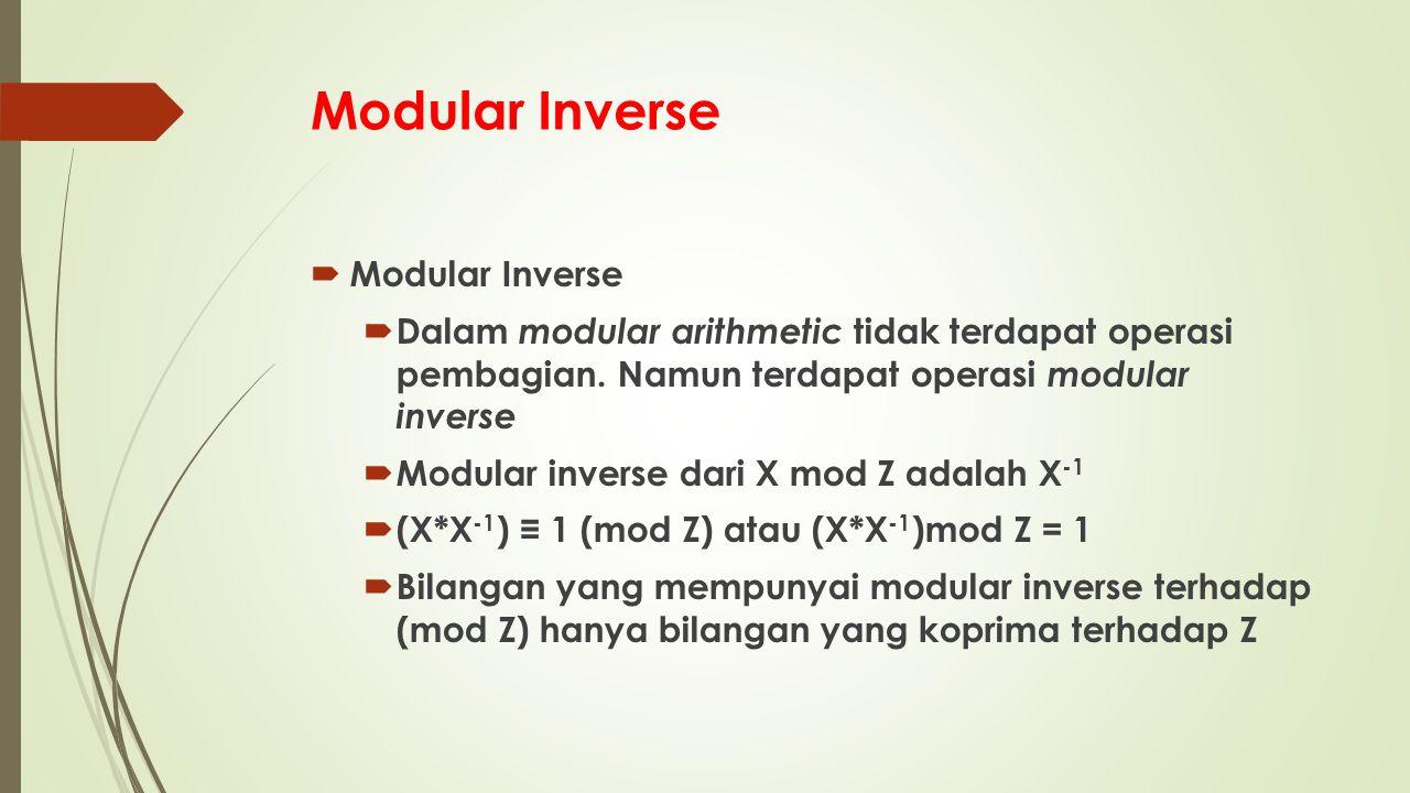 Modular Inverse Modular Inverse