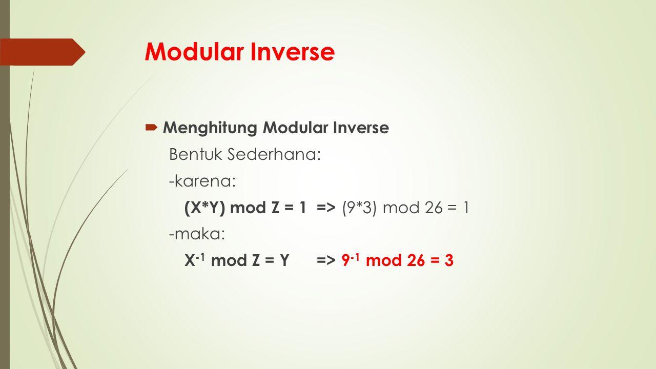 Modular Inverse Menghitung Modular Inverse Bentuk Sederhana: -karena: