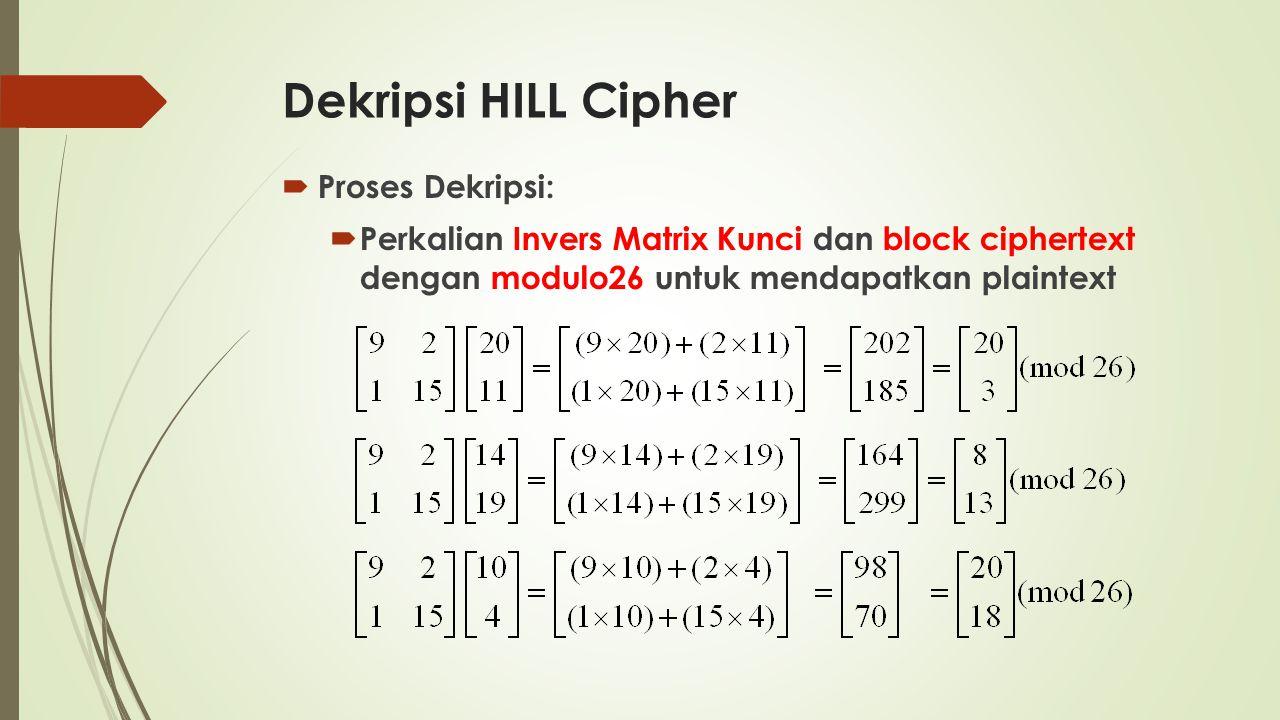 Dekripsi HILL Cipher Proses Dekripsi: