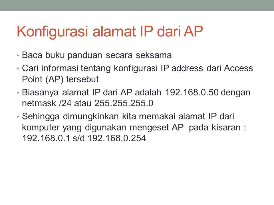 Konfigurasi alamat IP dari AP