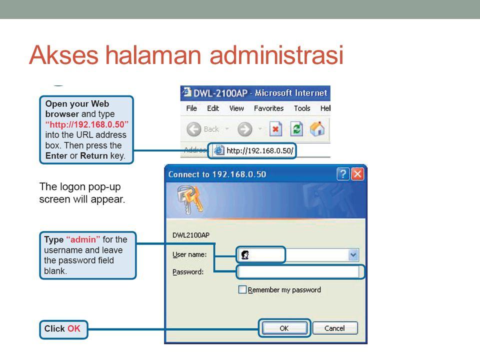 Akses halaman administrasi