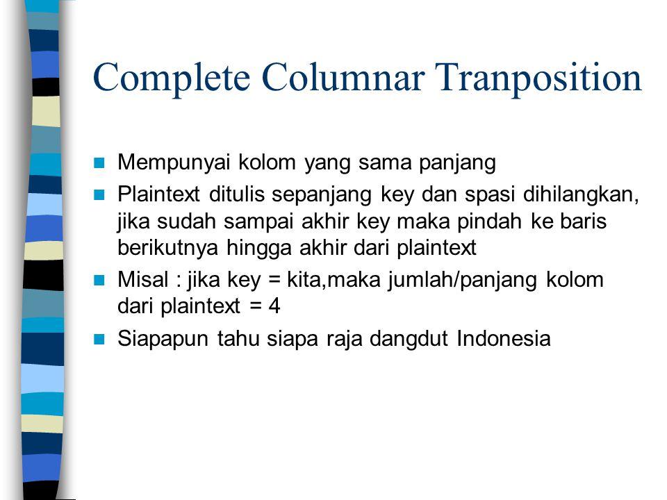 Complete Columnar Tranposition