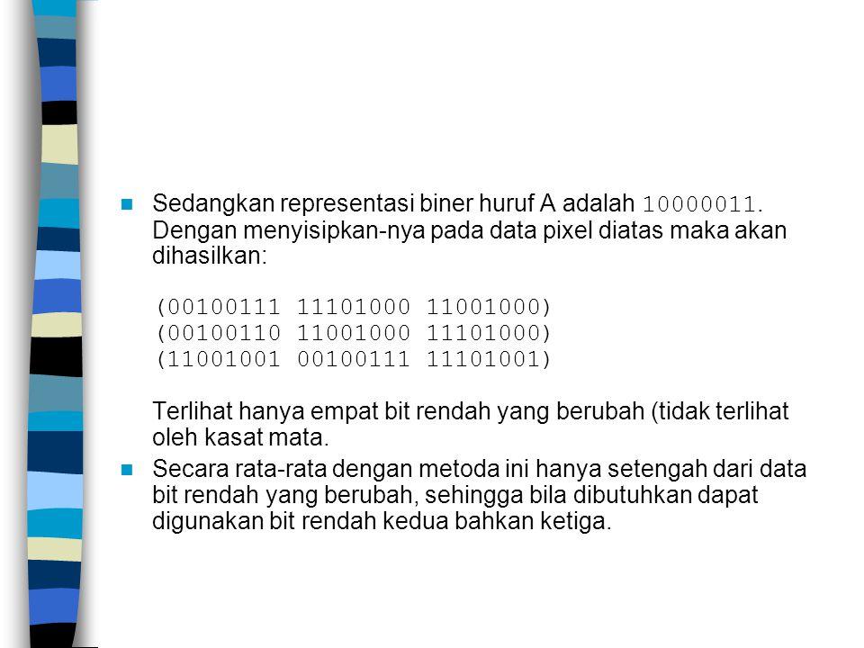 Sedangkan representasi biner huruf A adalah 10000011
