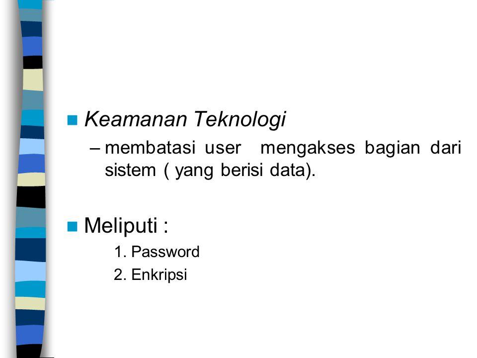 Keamanan Teknologi Meliputi :