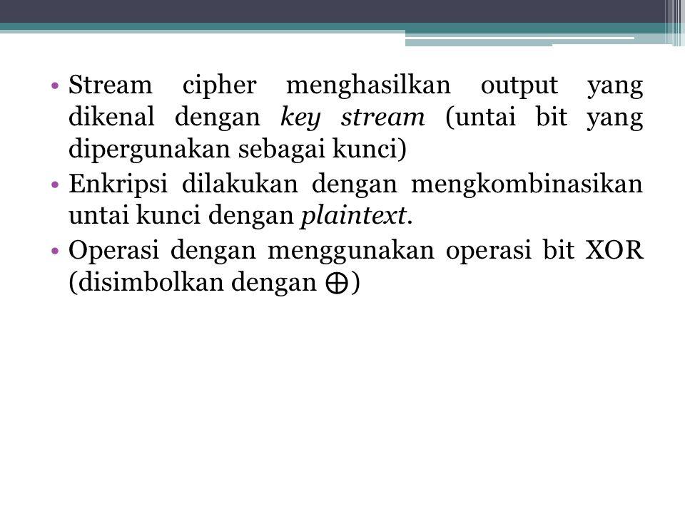 Stream cipher menghasilkan output yang dikenal dengan key stream (untai bit yang dipergunakan sebagai kunci)