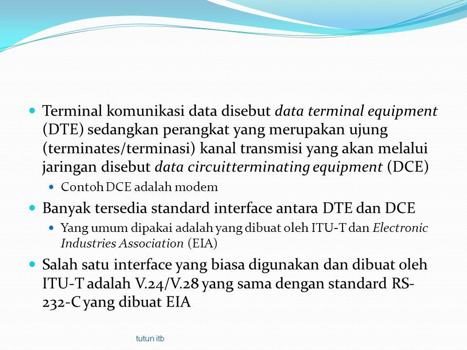 Banyak tersedia standard interface antara DTE dan DCE