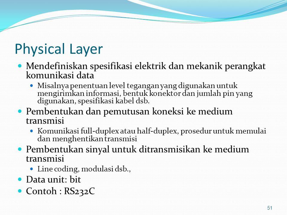 Physical Layer Mendefiniskan spesifikasi elektrik dan mekanik perangkat komunikasi data.