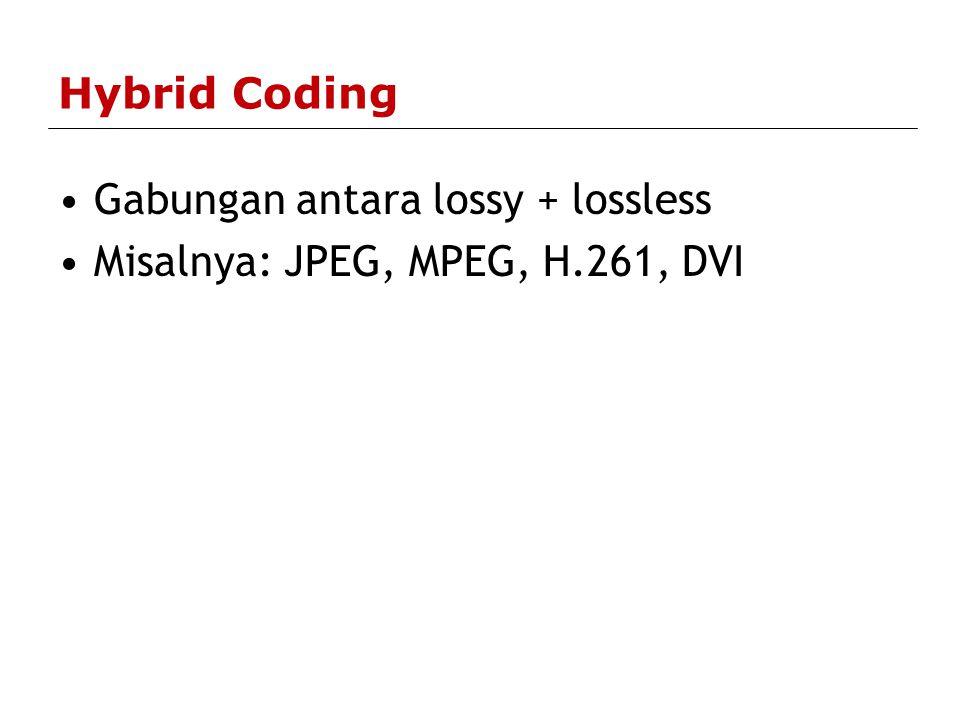 Hybrid Coding Gabungan antara lossy + lossless Misalnya: JPEG, MPEG, H.261, DVI