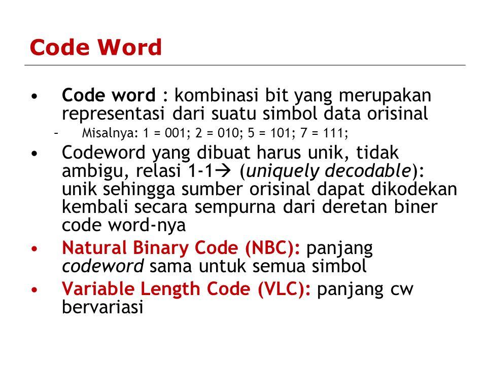 Code Word Code word : kombinasi bit yang merupakan representasi dari suatu simbol data orisinal. Misalnya: 1 = 001; 2 = 010; 5 = 101; 7 = 111;