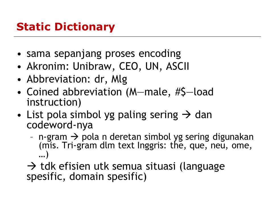 sama sepanjang proses encoding Akronim: Unibraw, CEO, UN, ASCII