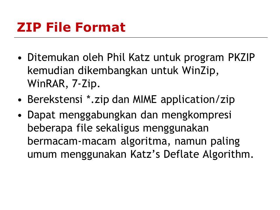 ZIP File Format Ditemukan oleh Phil Katz untuk program PKZIP kemudian dikembangkan untuk WinZip, WinRAR, 7-Zip.