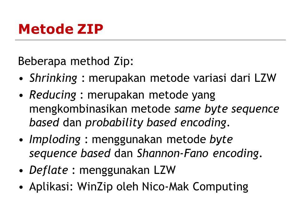 Metode ZIP Beberapa method Zip:
