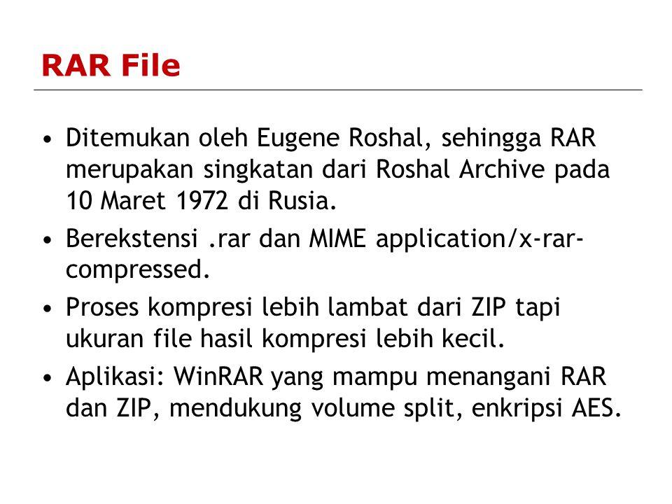 RAR File Ditemukan oleh Eugene Roshal, sehingga RAR merupakan singkatan dari Roshal Archive pada 10 Maret 1972 di Rusia.