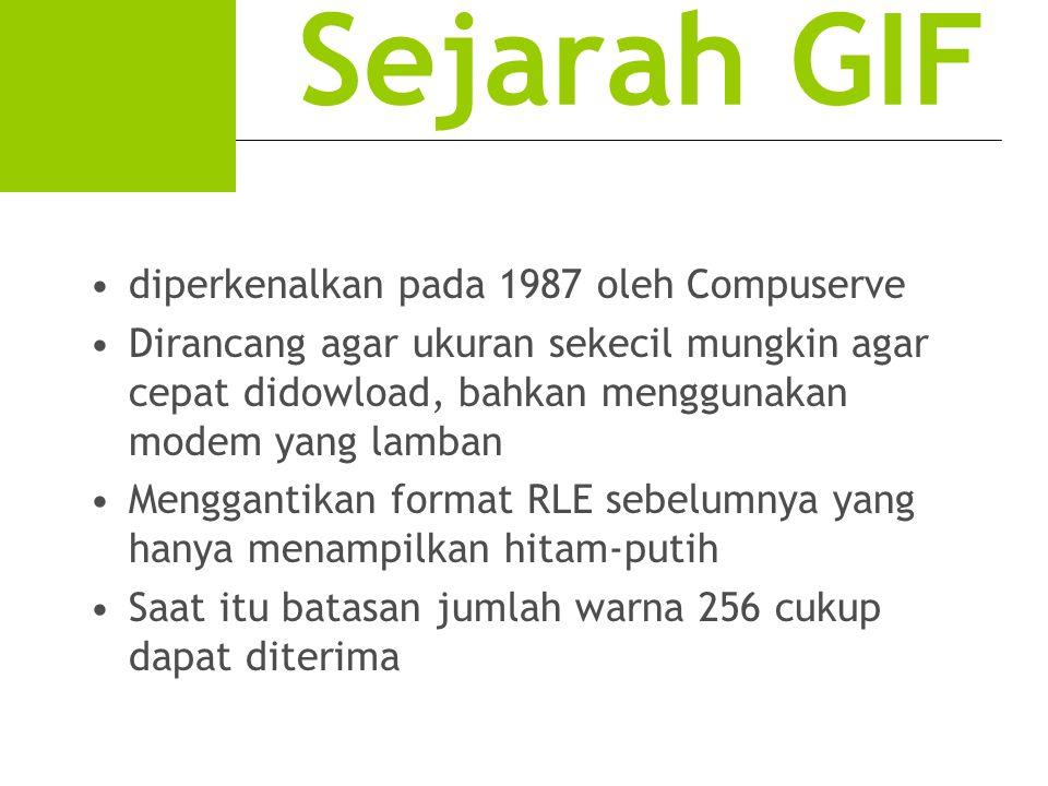 Sejarah GIF diperkenalkan pada 1987 oleh Compuserve