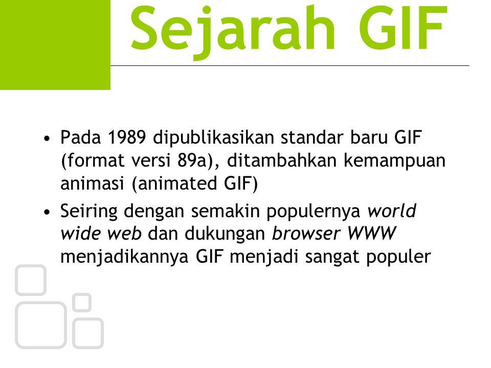 Sejarah GIF Pada 1989 dipublikasikan standar baru GIF (format versi 89a), ditambahkan kemampuan animasi (animated GIF)