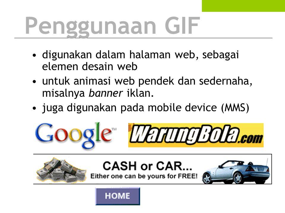 Penggunaan GIF digunakan dalam halaman web, sebagai elemen desain web