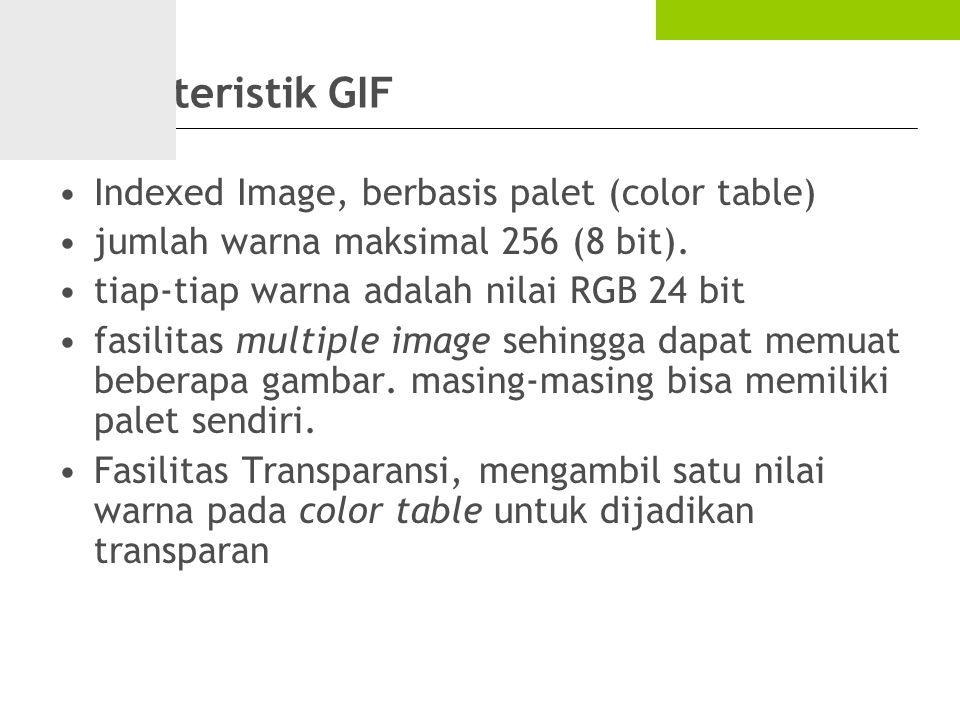 Karakteristik GIF Indexed Image, berbasis palet (color table)