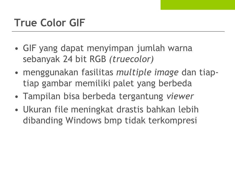True Color GIF GIF yang dapat menyimpan jumlah warna sebanyak 24 bit RGB (truecolor)