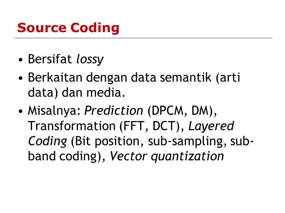 Source Coding Bersifat lossy. Berkaitan dengan data semantik (arti data) dan media.