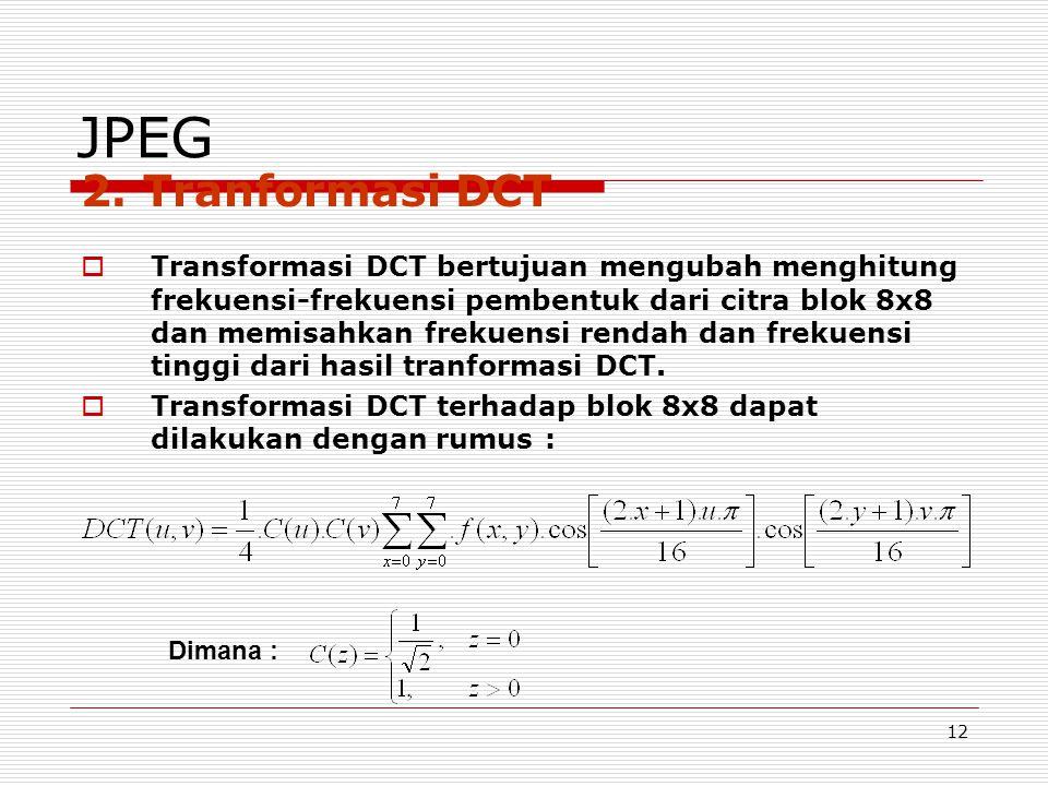JPEG 2. Tranformasi DCT.