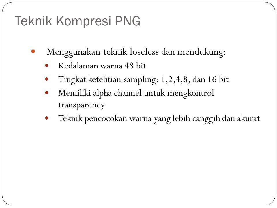 Teknik Kompresi PNG Menggunakan teknik loseless dan mendukung:
