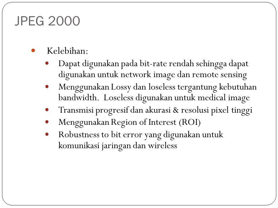 JPEG 2000 Kelebihan: Dapat digunakan pada bit-rate rendah sehingga dapat digunakan untuk network image dan remote sensing.