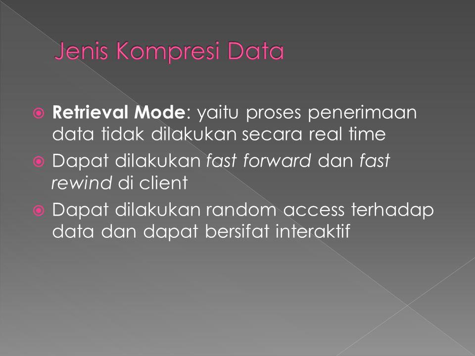 Jenis Kompresi Data Retrieval Mode: yaitu proses penerimaan data tidak dilakukan secara real time.