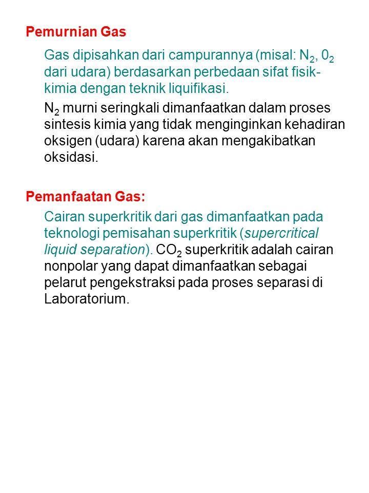 Pemurnian Gas Gas dipisahkan dari campurannya (misal: N2, 02 dari udara) berdasarkan perbedaan sifat fisik-kimia dengan teknik liquifikasi.
