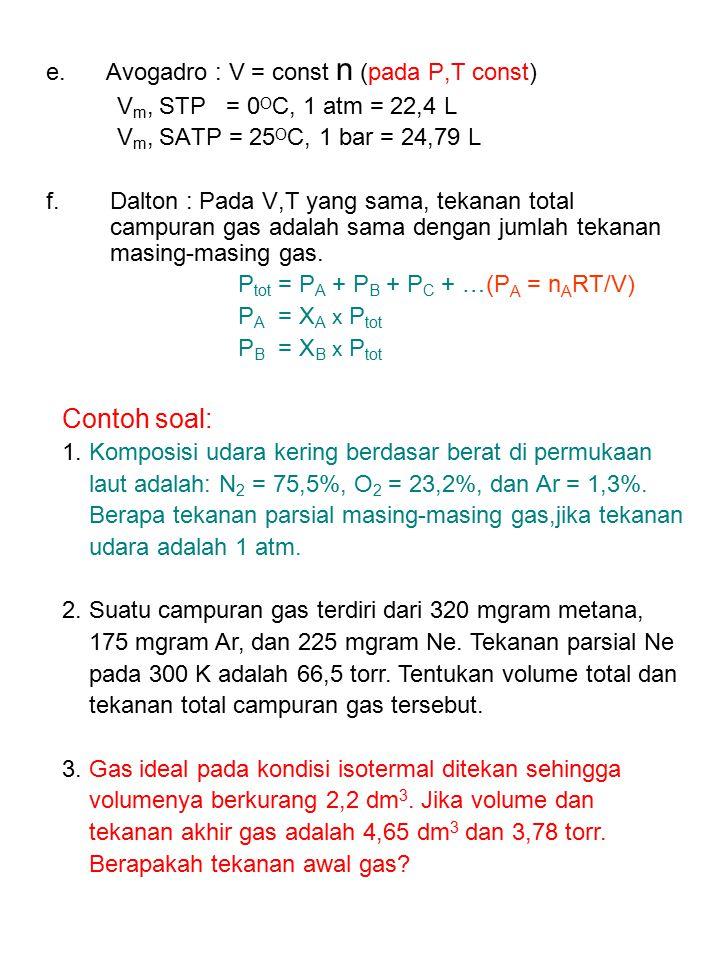 Contoh soal: e. Avogadro : V = const n (pada P,T const)